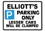ELLIOTT'S Personalised Gift |Unique Present for Him | Parking Sign - Size Large - Metal faced
